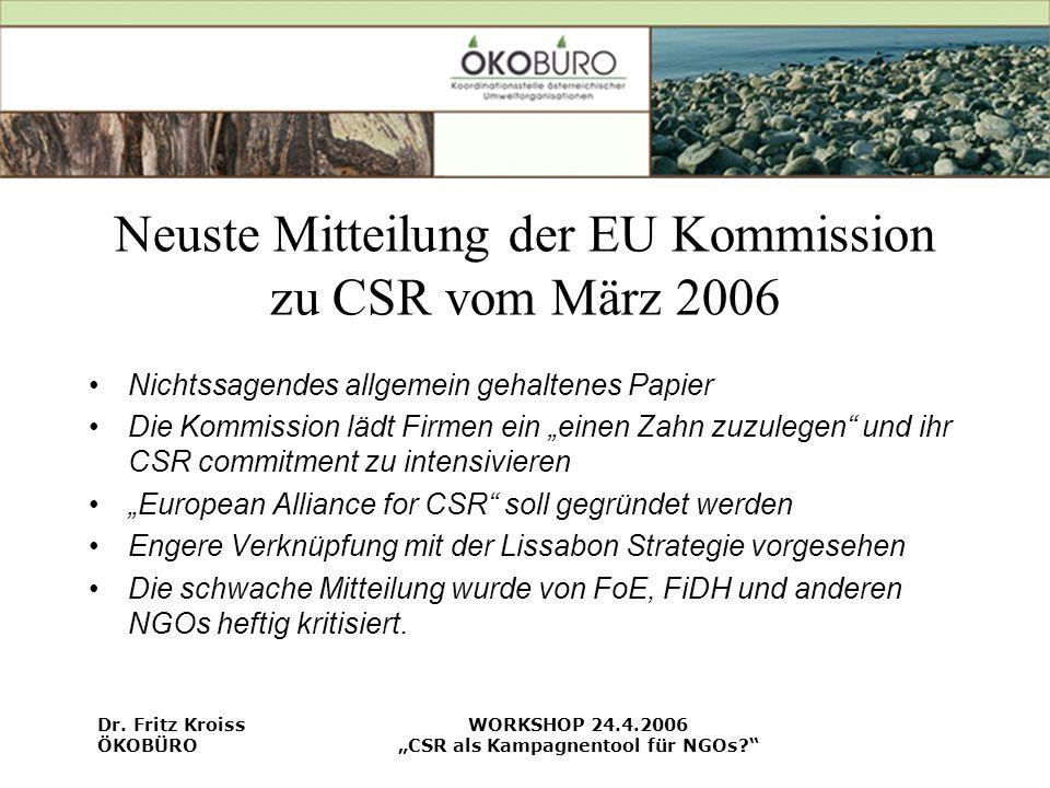 Neuste Mitteilung der EU Kommission zu CSR vom März 2006