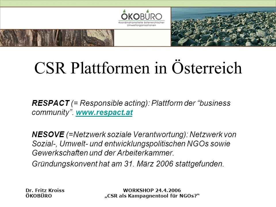 CSR Plattformen in Österreich