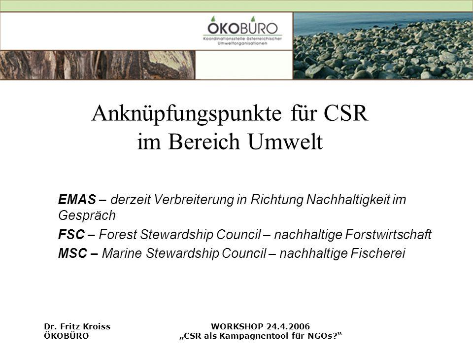 Anknüpfungspunkte für CSR im Bereich Umwelt