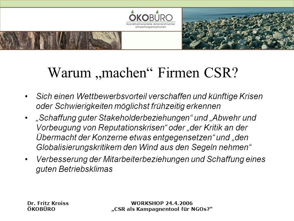 """Warum """"machen Firmen CSR"""