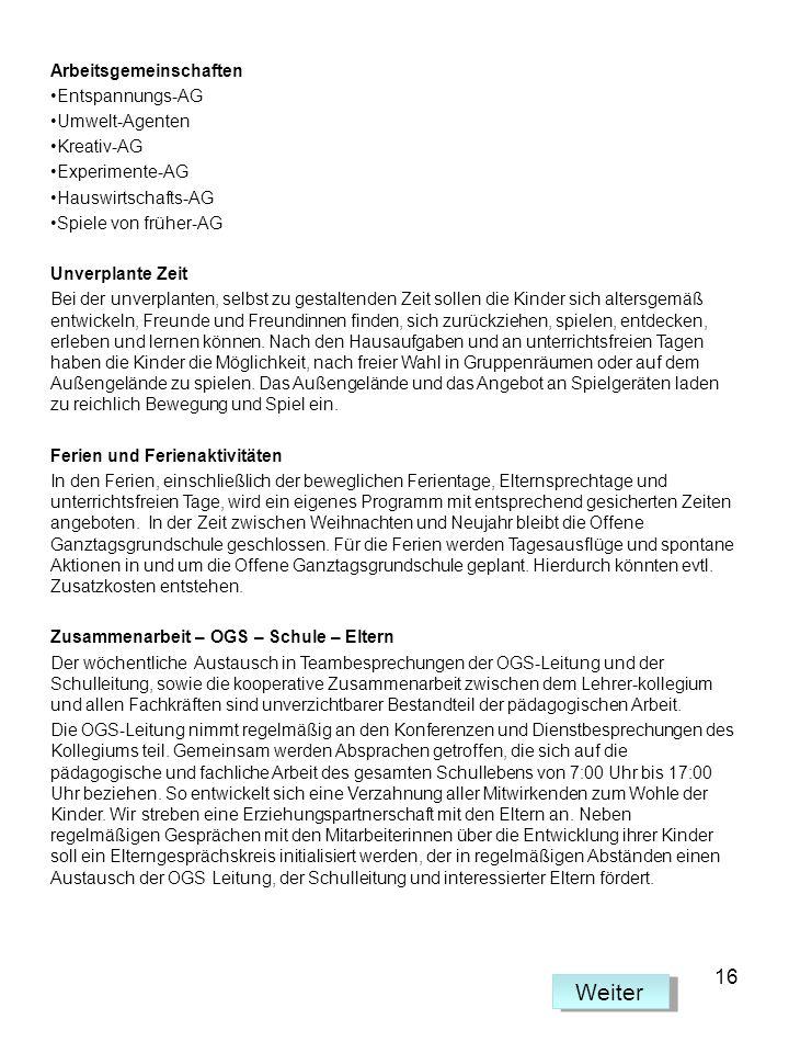 Weiter 16 Arbeitsgemeinschaften Entspannungs-AG Umwelt-Agenten