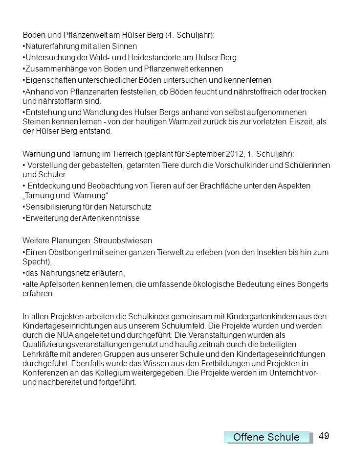 Offene Schule 49 Boden und Pflanzenwelt am Hülser Berg (4. Schuljahr):