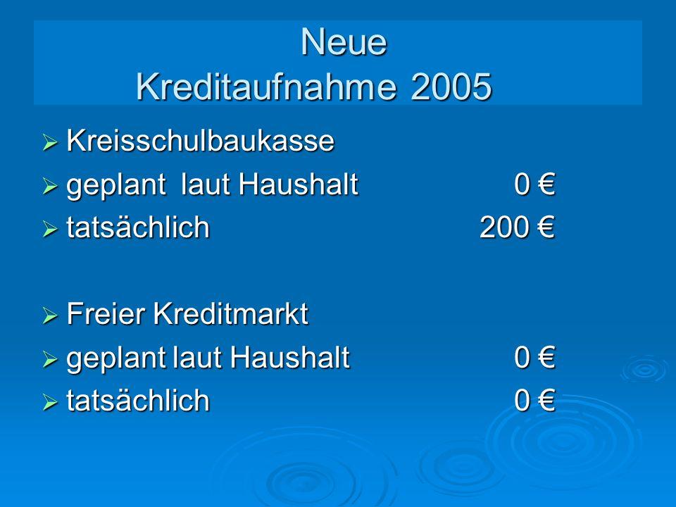 Neue Kreditaufnahme 2005 Kreisschulbaukasse geplant laut Haushalt 0 €