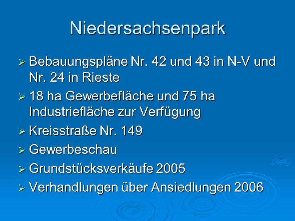 Niedersachsenpark Bebauungspläne Nr. 42 und 43 in N-V und Nr. 24 in Rieste. 18 ha Gewerbefläche und 75 ha Industriefläche zur Verfügung.