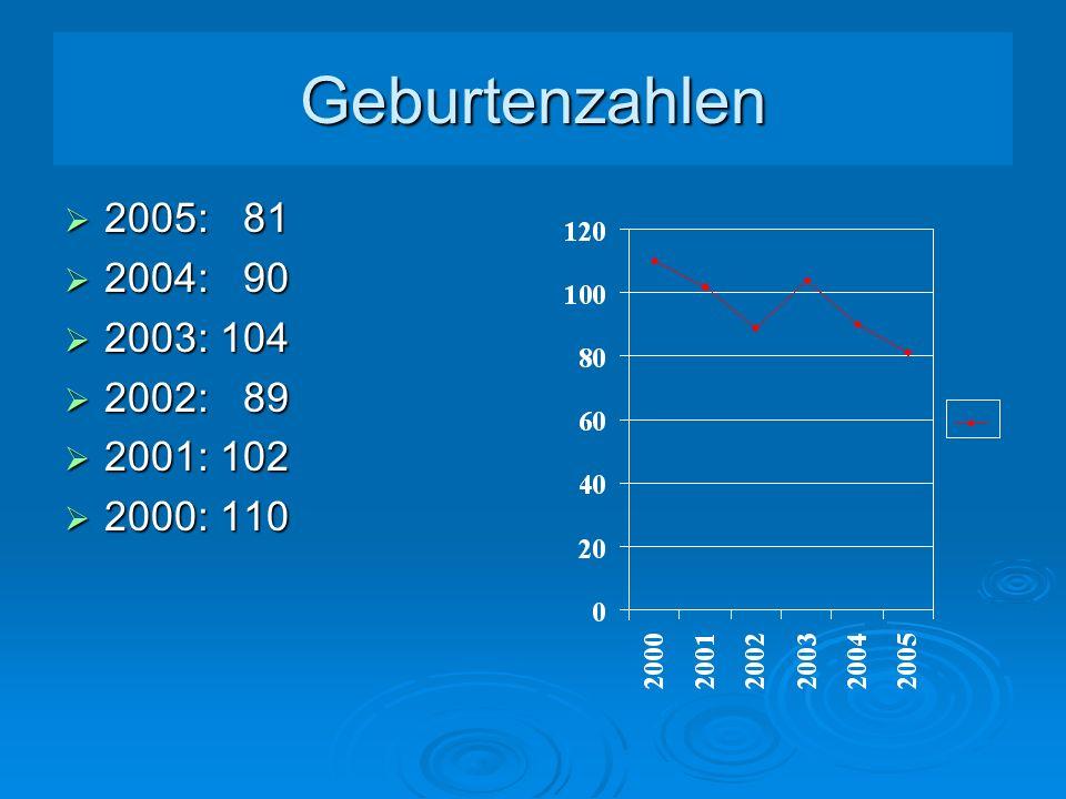 Geburtenzahlen 2005: 81 2004: 90 2003: 104 2002: 89 2001: 102 2000: 110