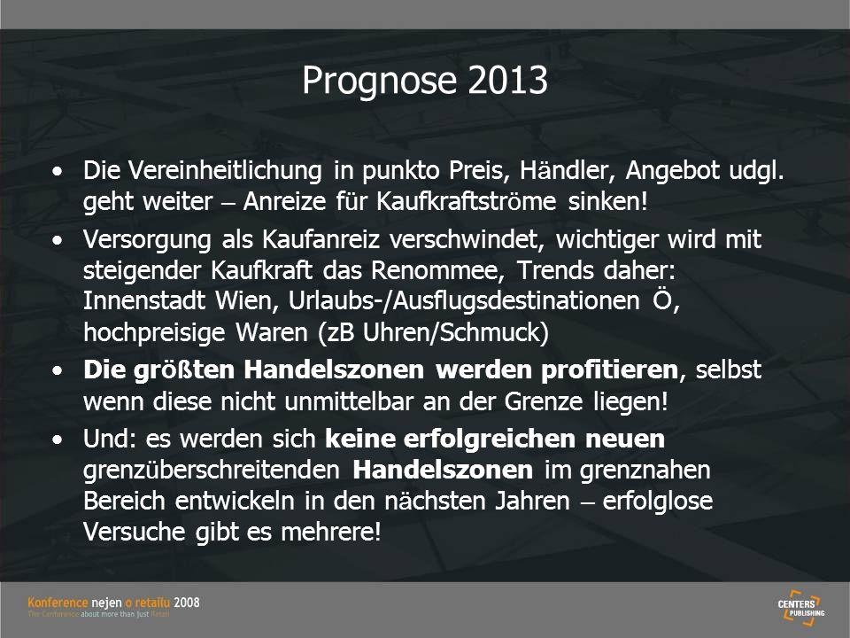Prognose 2013 Die Vereinheitlichung in punkto Preis, Händler, Angebot udgl. geht weiter – Anreize für Kaufkraftströme sinken!