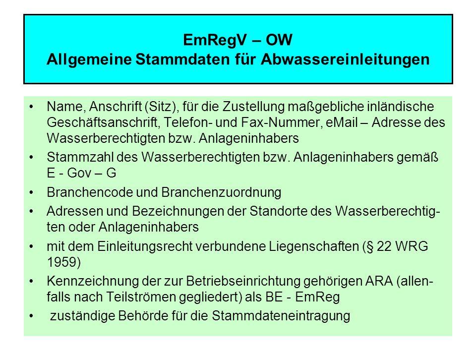 EmRegV – OW Allgemeine Stammdaten für Abwassereinleitungen