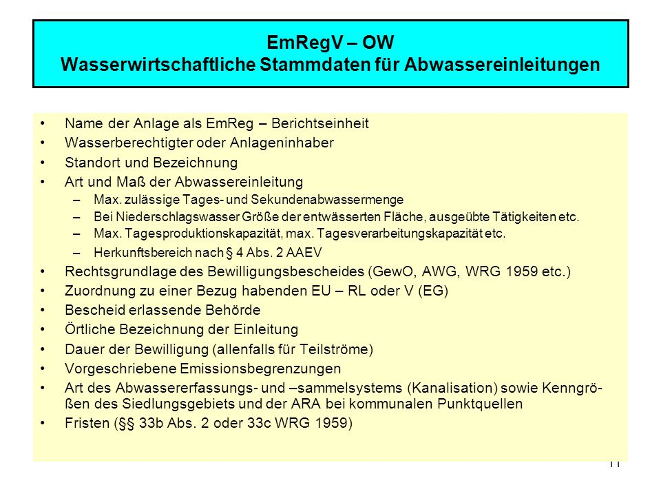 EmRegV – OW Wasserwirtschaftliche Stammdaten für Abwassereinleitungen