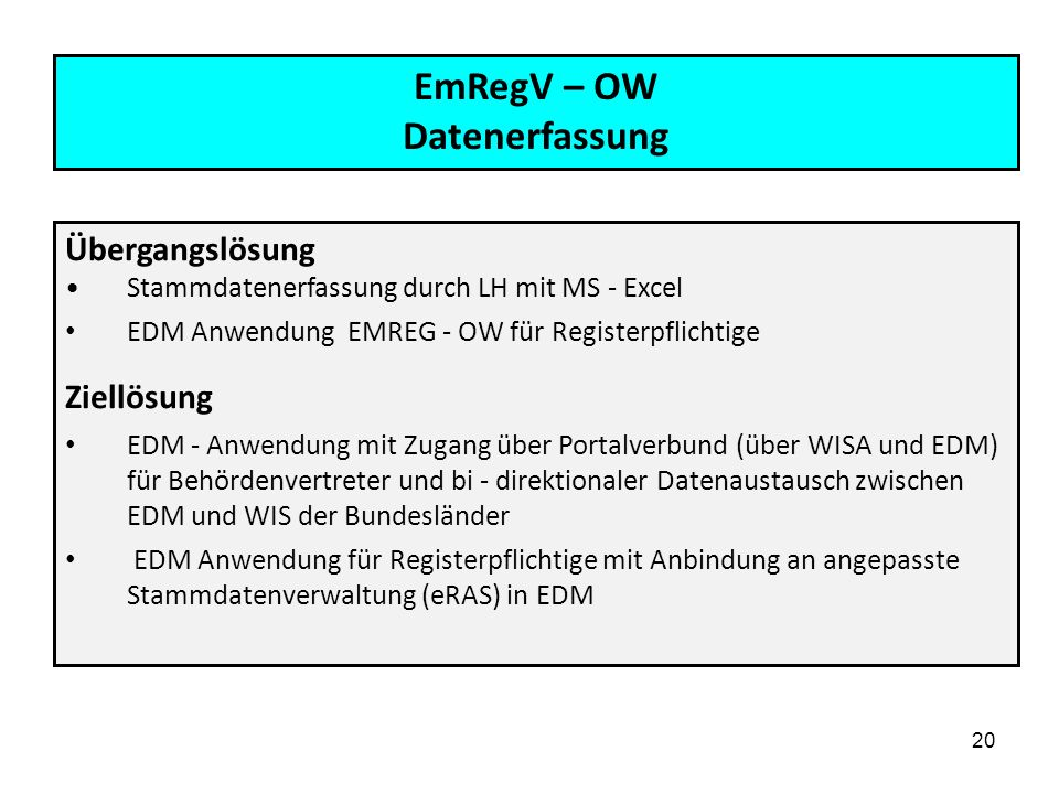 EmRegV – OW Datenerfassung