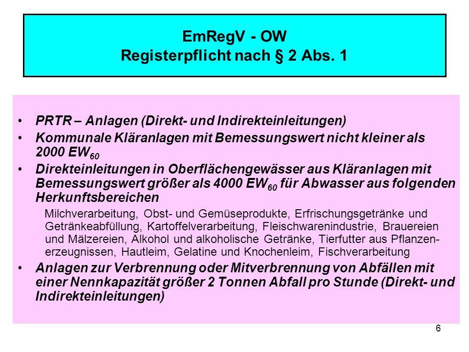 EmRegV - OW Registerpflicht nach § 2 Abs. 1