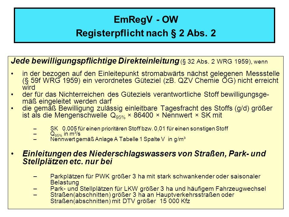 EmRegV - OW Registerpflicht nach § 2 Abs. 2