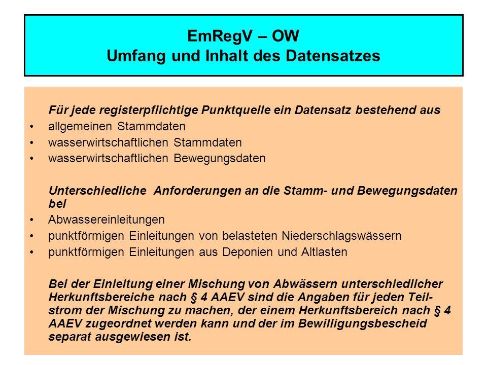 EmRegV – OW Umfang und Inhalt des Datensatzes