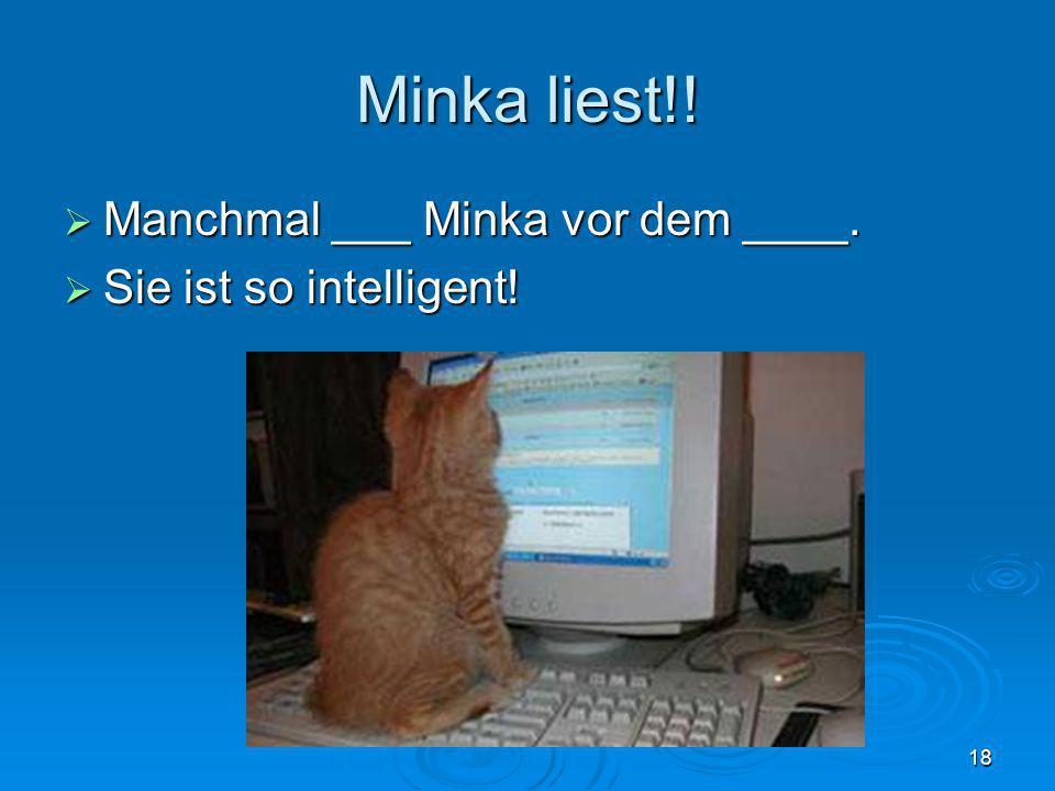 Minka liest!! Manchmal ___ Minka vor dem ____. Sie ist so intelligent!