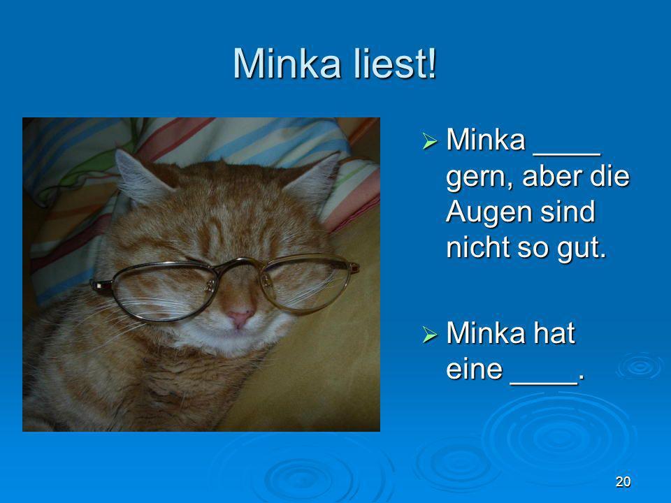 Minka liest! Minka ____ gern, aber die Augen sind nicht so gut.