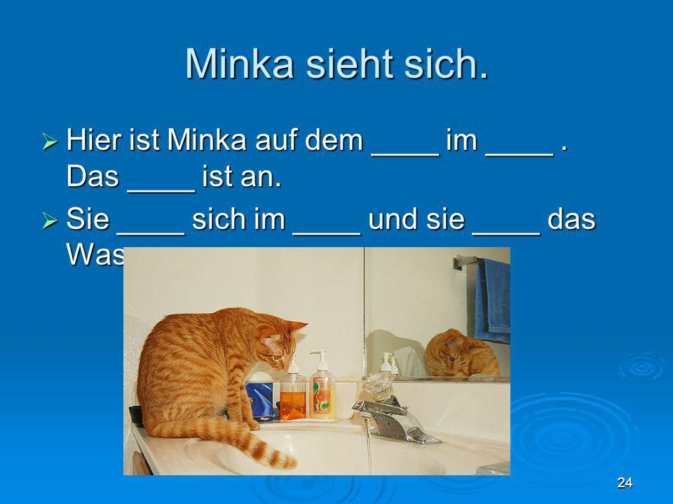 Minka sieht sich. Hier ist Minka auf dem ____ im ____ .