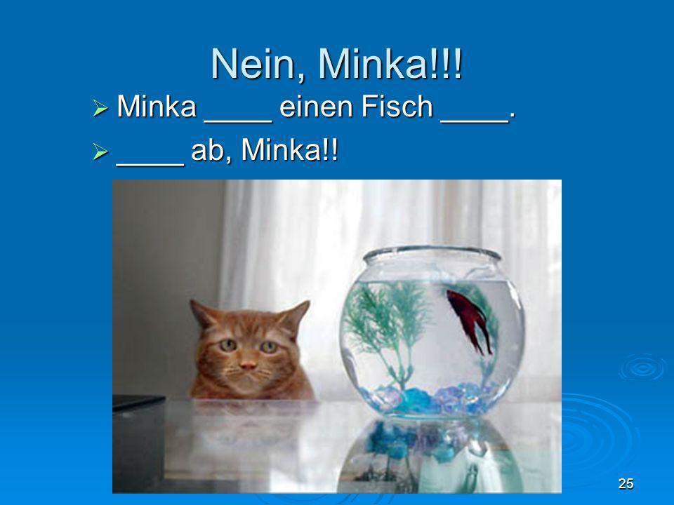 Nein, Minka!!! Minka ____ einen Fisch ____. ____ ab, Minka!!
