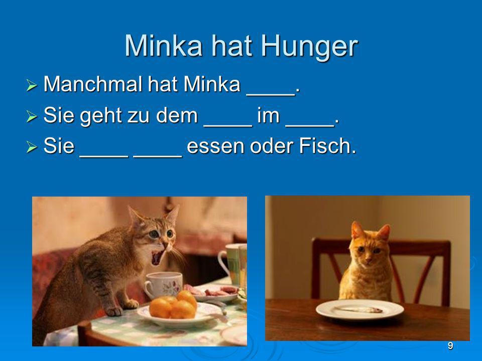 Minka hat Hunger Manchmal hat Minka ____.