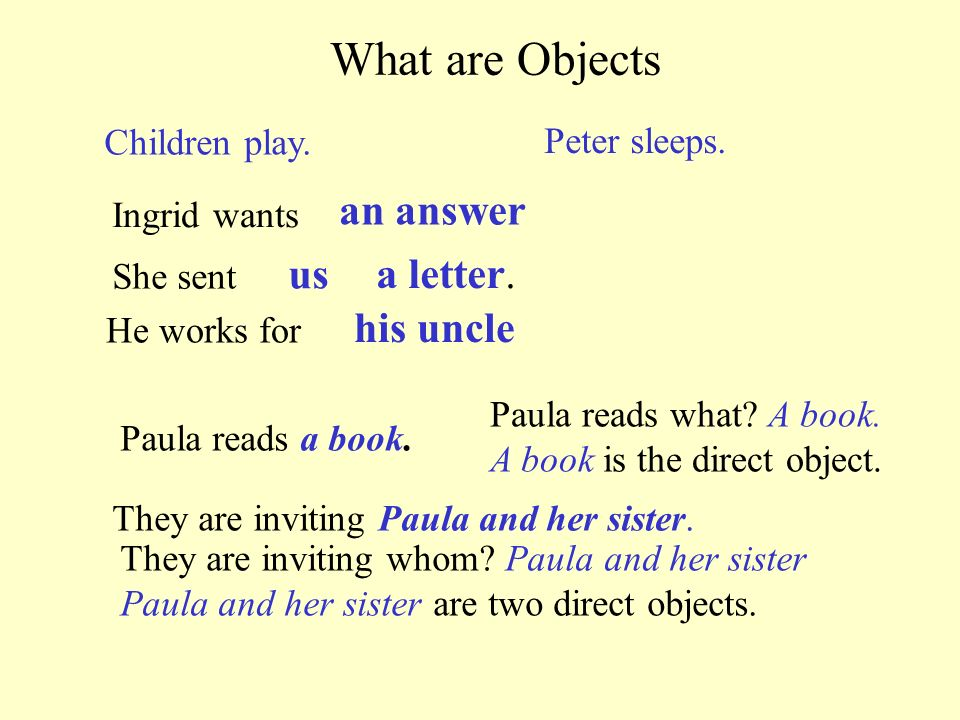 What are Objects us a letter. his uncle Children play. Peter sleeps.