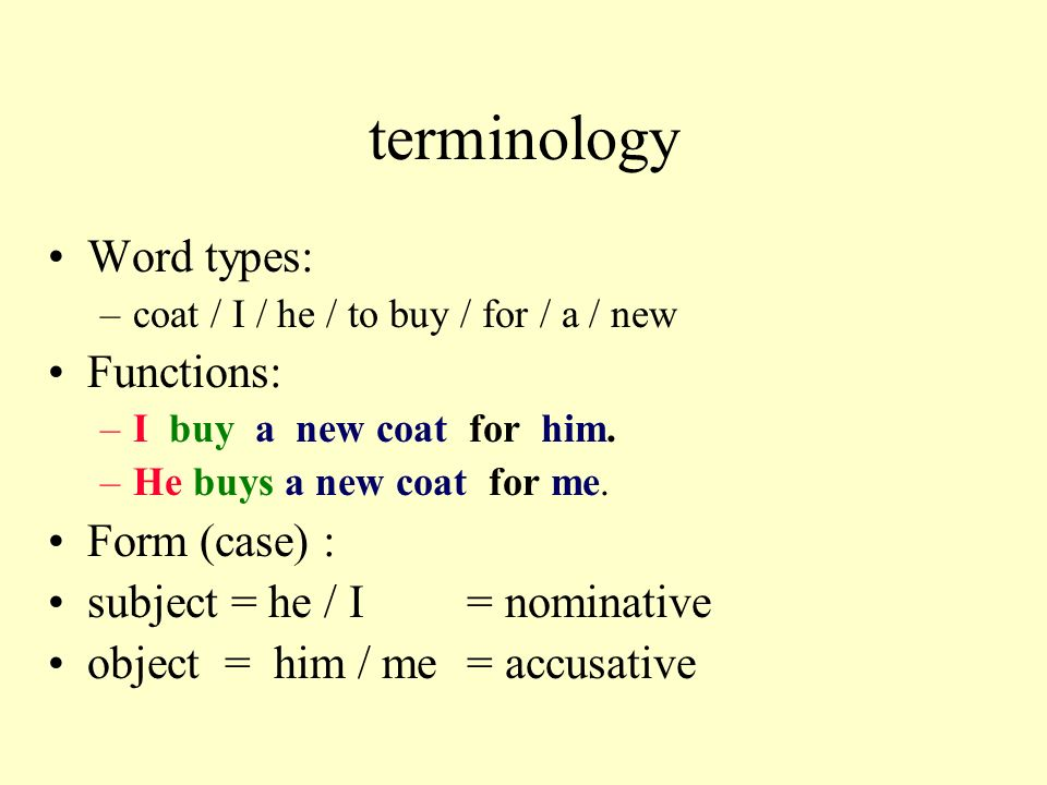 terminology Word types: Functions: Form (case) :