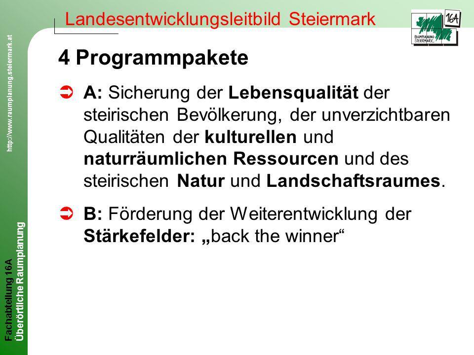 4 Programmpakete Landesentwicklungsleitbild Steiermark