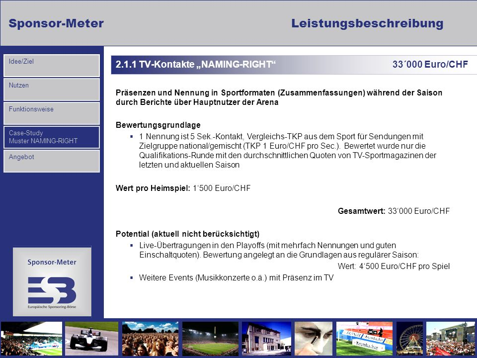 "2.1.1 TV-Kontakte ""NAMING-RIGHT 33´000 Euro/CHF"