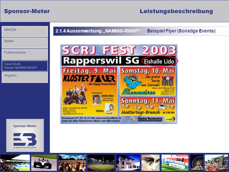 "2.1.4 Aussenwerbung ""NAMING-RIGHT Beispiel Flyer (Sonstige Events)"