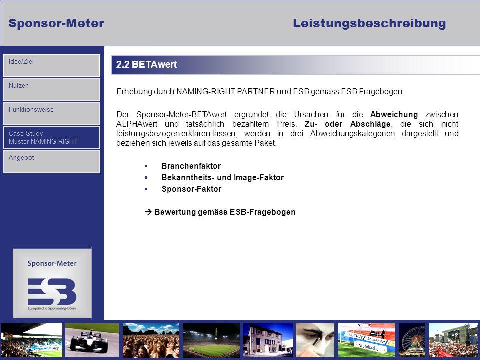 2.2 BETAwert Erhebung durch NAMING-RIGHT PARTNER und ESB gemäss ESB Fragebogen.
