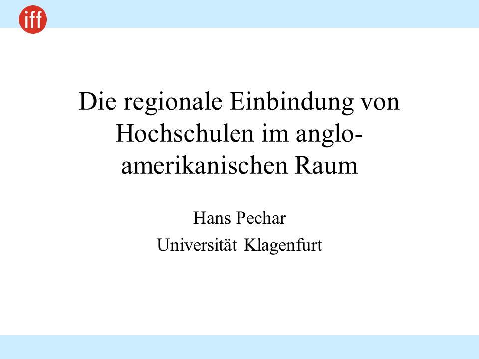 Die regionale Einbindung von Hochschulen im anglo-amerikanischen Raum