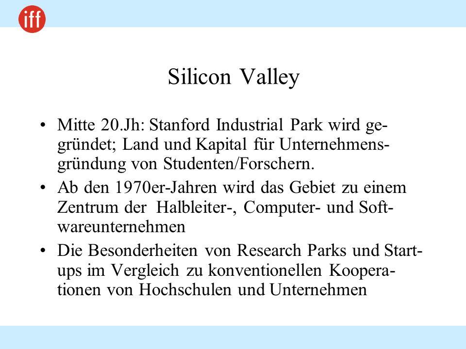 Silicon Valley Mitte 20.Jh: Stanford Industrial Park wird ge-gründet; Land und Kapital für Unternehmens-gründung von Studenten/Forschern.