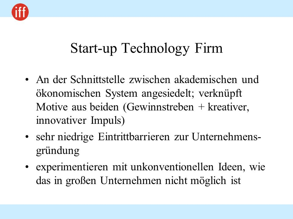 Start-up Technology Firm
