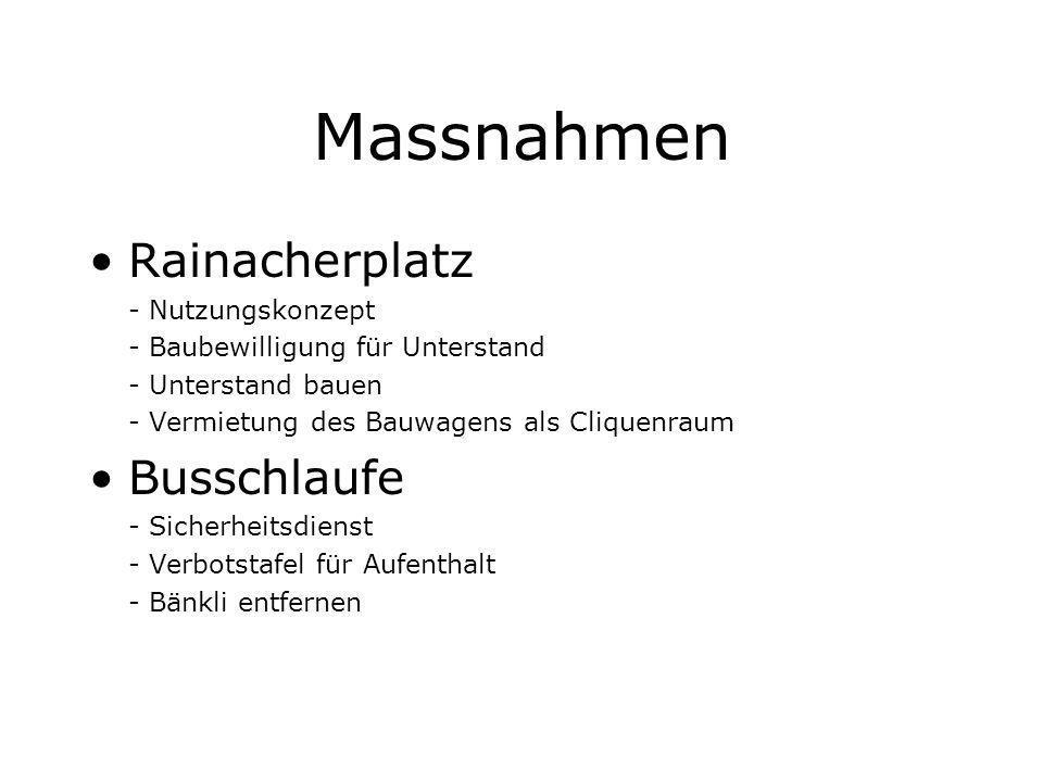 Massnahmen Rainacherplatz Busschlaufe - Nutzungskonzept