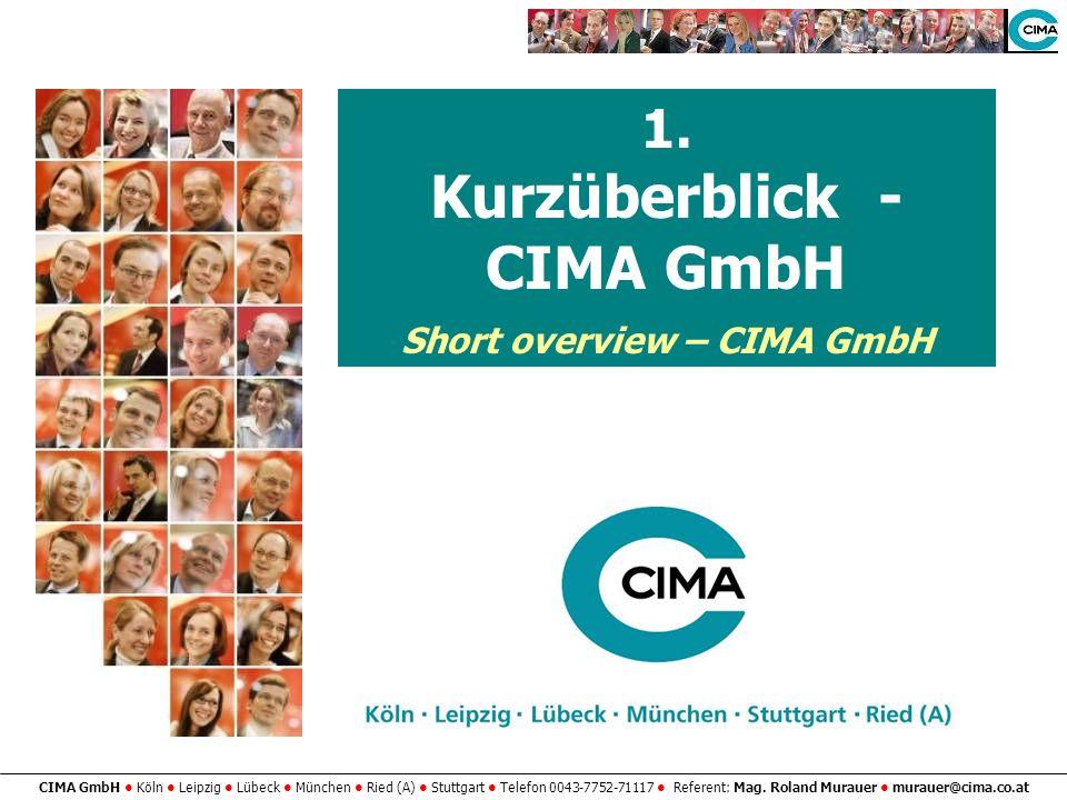 Kurzüberblick - CIMA GmbH Short overview – CIMA GmbH