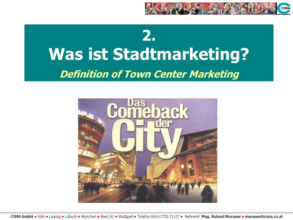 Was ist Stadtmarketing Definition of Town Center Marketing
