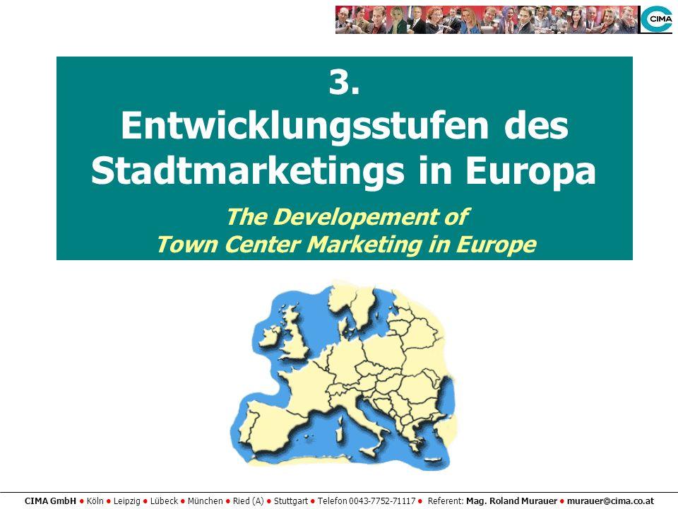 Entwicklungsstufen des Stadtmarketings in Europa
