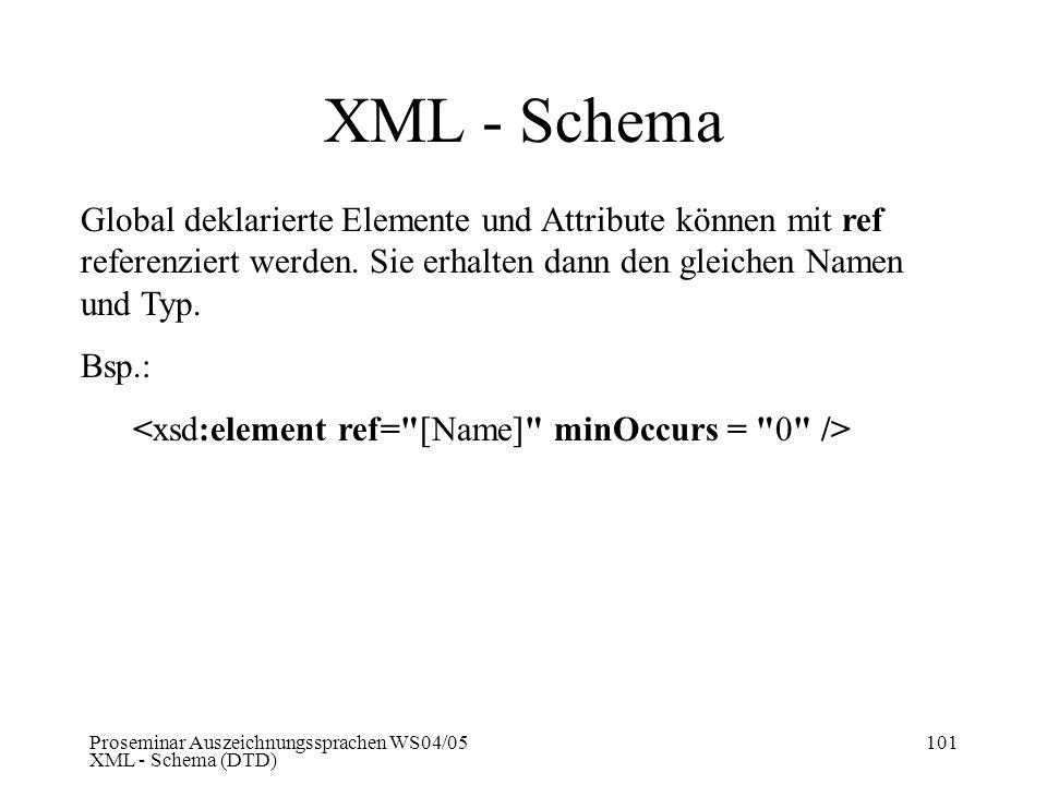 XML - Schema Global deklarierte Elemente und Attribute können mit ref referenziert werden. Sie erhalten dann den gleichen Namen und Typ.