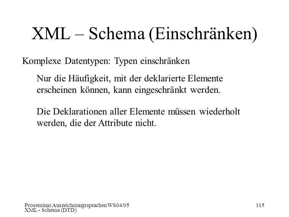 XML – Schema (Einschränken)