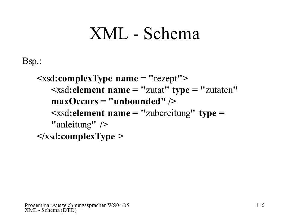 XML - Schema Bsp.: <xsd:complexType name = rezept >