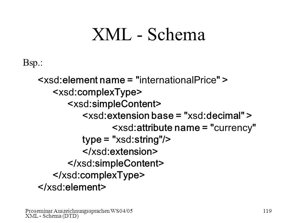 XML - Schema Bsp.: <xsd:element name = internationalPrice >