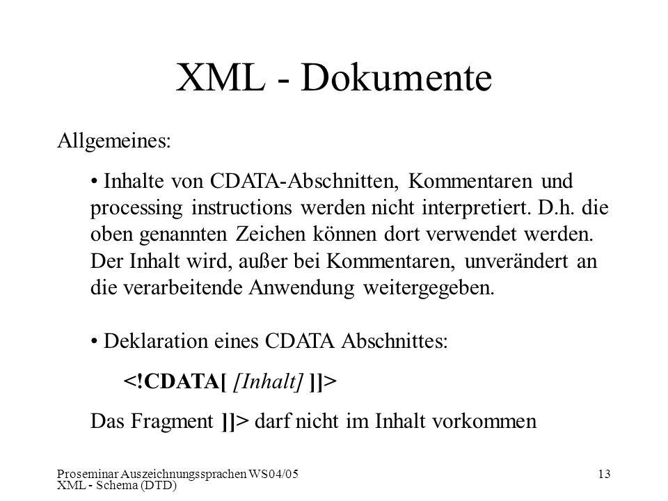 XML - Dokumente Allgemeines: