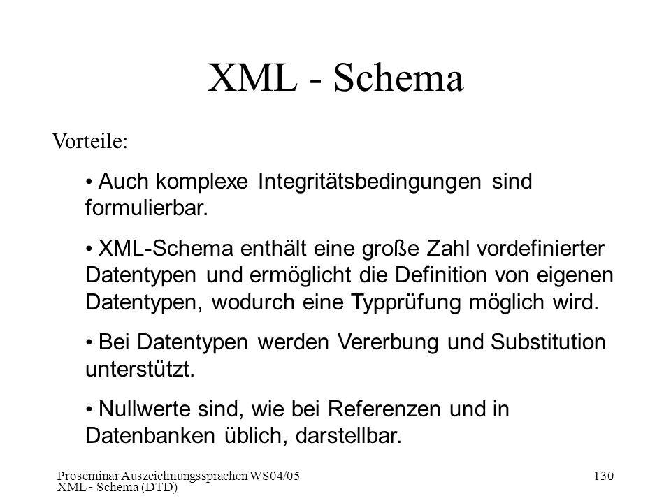 XML - Schema Vorteile: Auch komplexe Integritätsbedingungen sind formulierbar.