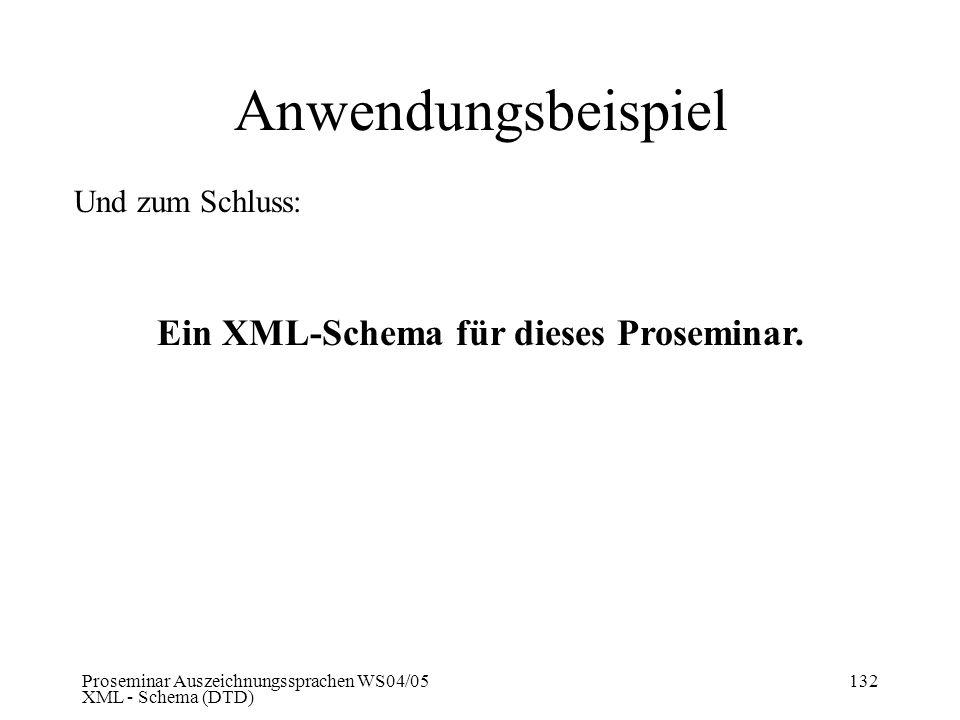 Ein XML-Schema für dieses Proseminar.