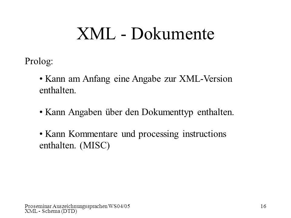 XML - Dokumente Prolog: