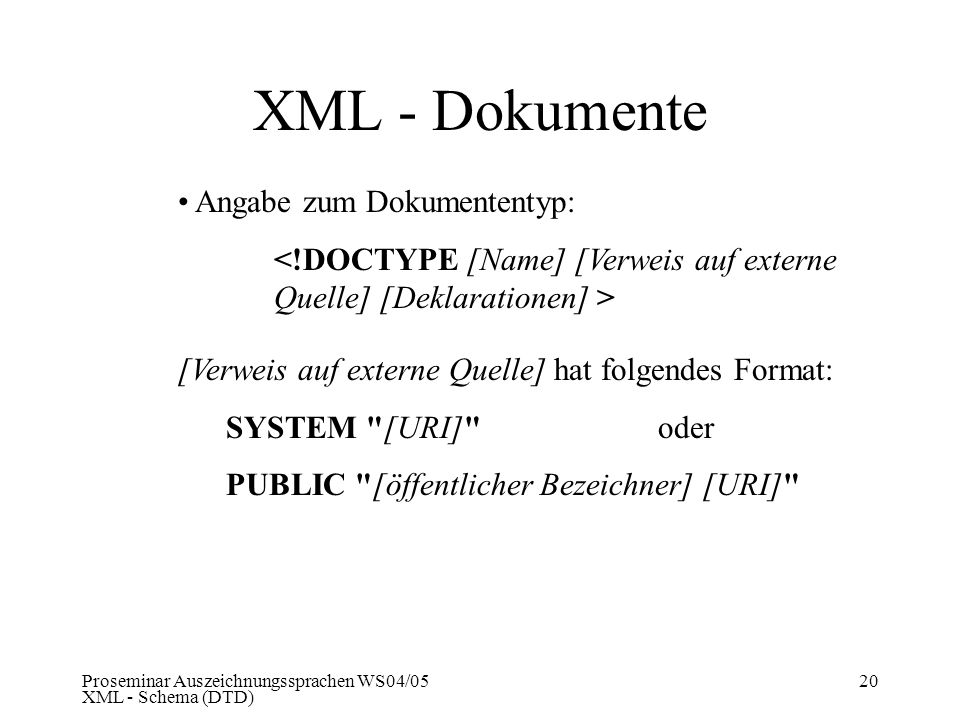 XML - Dokumente Angabe zum Dokumententyp: