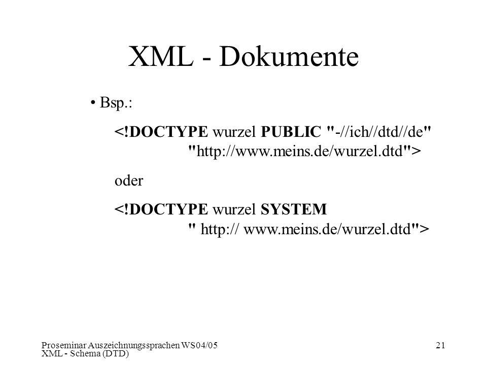 XML - Dokumente Bsp.: <!DOCTYPE wurzel PUBLIC -//ich//dtd//de