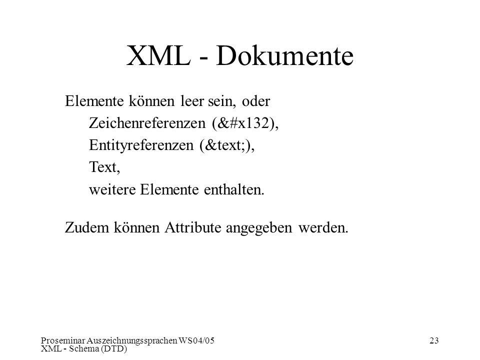 XML - Dokumente Elemente können leer sein, oder
