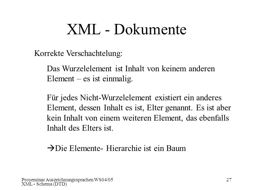 XML - Dokumente Korrekte Verschachtelung: