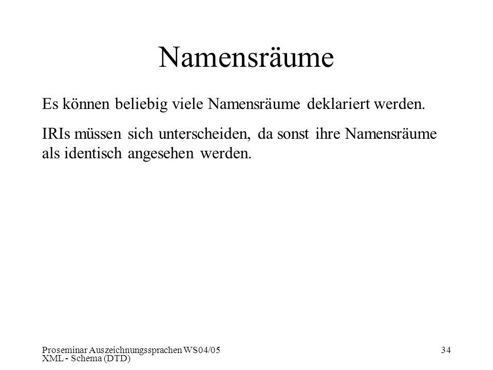Namensräume Es können beliebig viele Namensräume deklariert werden.