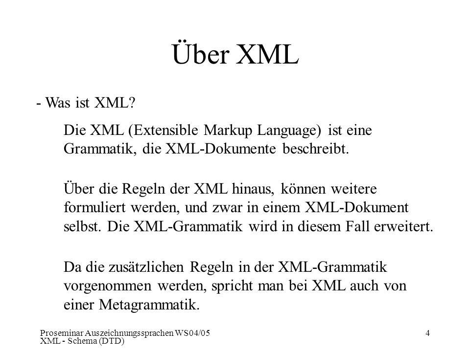 Über XML - Was ist XML Die XML (Extensible Markup Language) ist eine Grammatik, die XML-Dokumente beschreibt.
