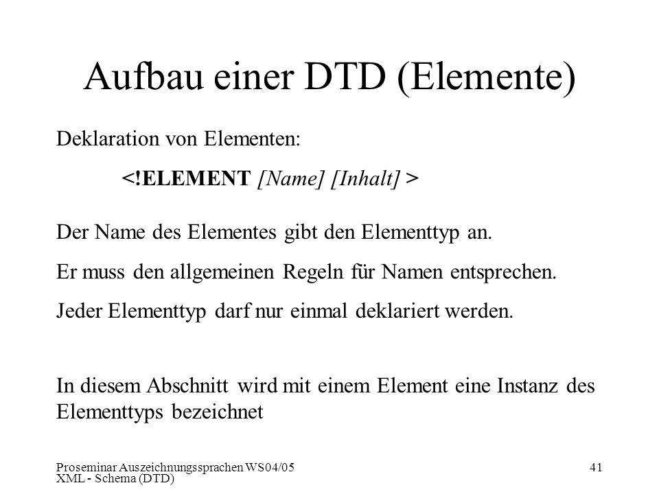 Aufbau einer DTD (Elemente)