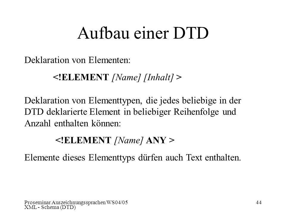 Aufbau einer DTD Deklaration von Elementen: